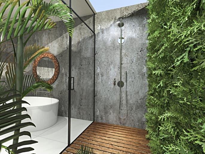 Idea de ducha exterior con tarima